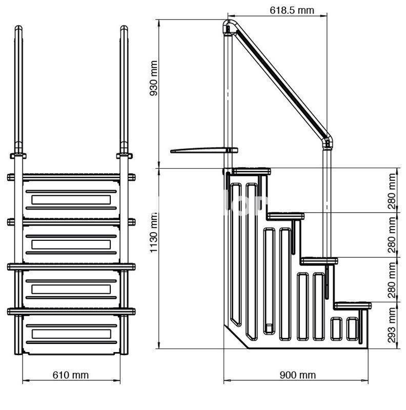 Escalera sintetica de acceso facil para piscinas gre for Escalera piscina facil acceso